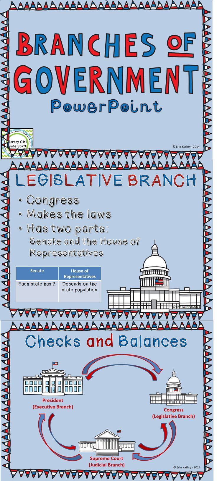 This bundle includes a PowerPoint that outlines the three branches of government: executive, legislative, and judicial. The PowerPoint also includes checks and balances and the separation of power. Any slide in the PowerPoint can also be used as a classroom poster! Along with the PowerPoint, a printable foldable is included that allows students to explain the three branches of government, using the PowerPoint as a guide.