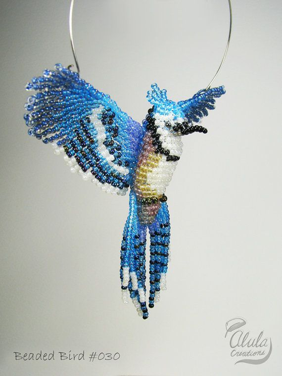 Beaded Bird Suncatcher : Blue jay Bird Necklace by AlulaCreations