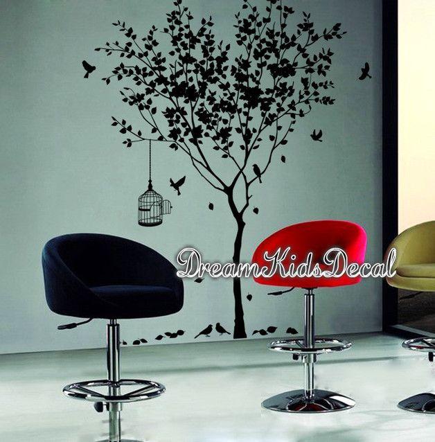 Wandtattoo Wandsticker Baum mit Vögel ***zum Verkauf*** The tree is approx.180cm tall. Die Abziehbilder können umgekehrt / gespiegelt werden. Nur erwähnen es in der Frage an Verkäufer...