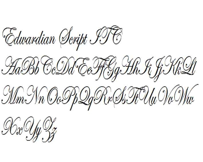 edwardian script ITC | Scripto: Decorative, formal and ...