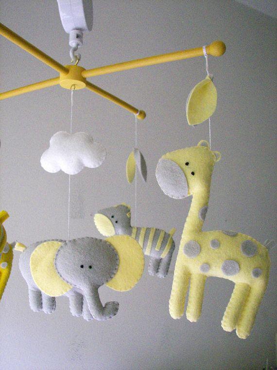 Baby crib mobile, safari mobile, animal mobile, felt ...