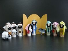 Step by step directions.  Could use for any Bible character! Toilet Paper Tube Nativity set
