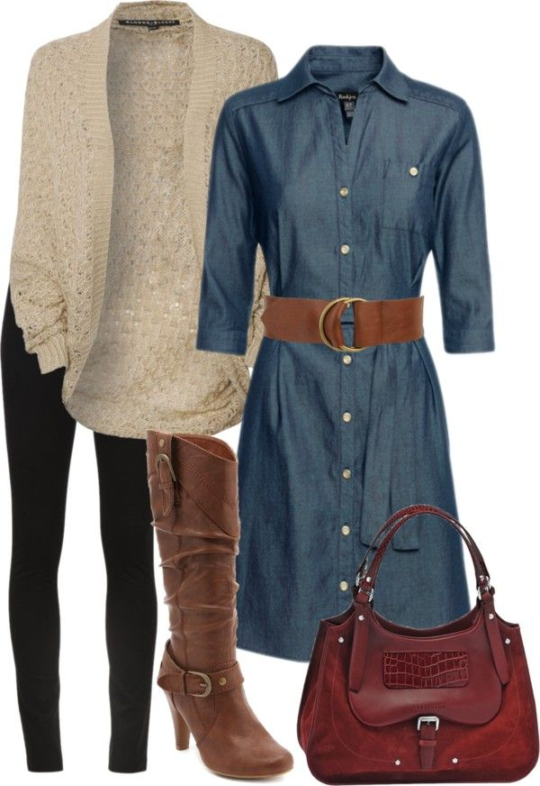 I am liking this denim dress and wide belt- Good look with boots and pocketbook I already have!