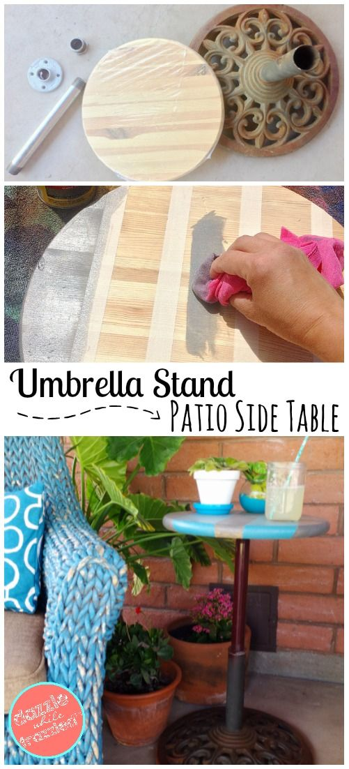 DIY patio garden decor, How to build an outdoor table, Re-purpose thrift store junk, DIY outdoor furniture, Umbrella stand patio side table via @https://www.pinterest.com/dazzlefrazzled/