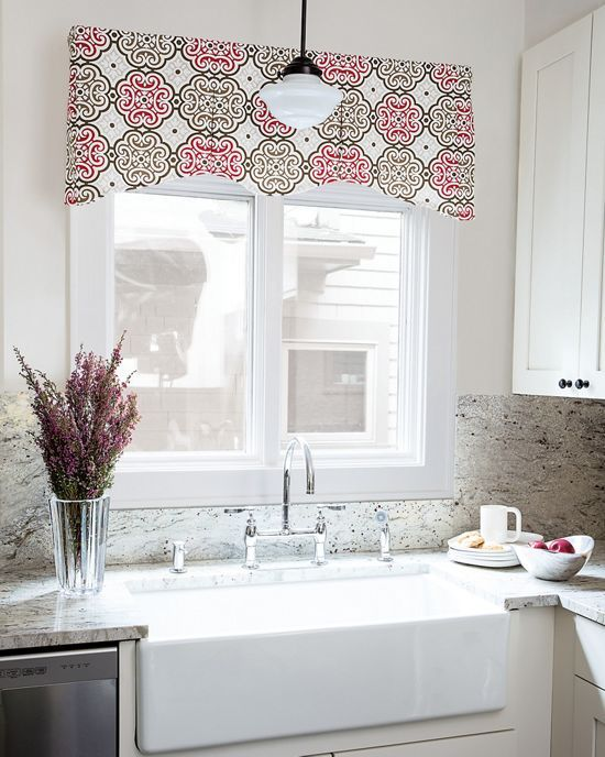 this traditional valance features gentle scallops punctuated by inverted pleats across the center portion of the - Valances