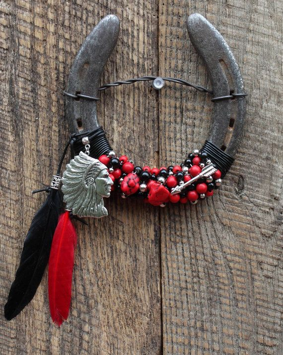 Indian Chief Beaded Horseshoe Wall Hanging by WhiteFeatherJewelry