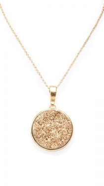 Gold Druzy Round Pendant Necklace