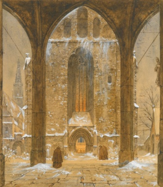 Cloister in Winter - Ernst Ferdinand Oehme (1797-1855) Sotheby's