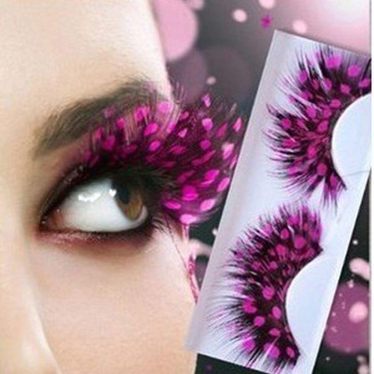 Pink Dot False Eyelashes Natural Feather False Eyelashes Colorful False Eyelashes Fashion Eye Lashes Extensions Beauty Lashes