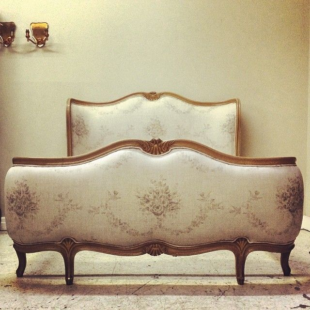 Lovely French Corbeille Bed Upholstered For A Client In Kate Forman Grey  Sophia / #frenchstyle