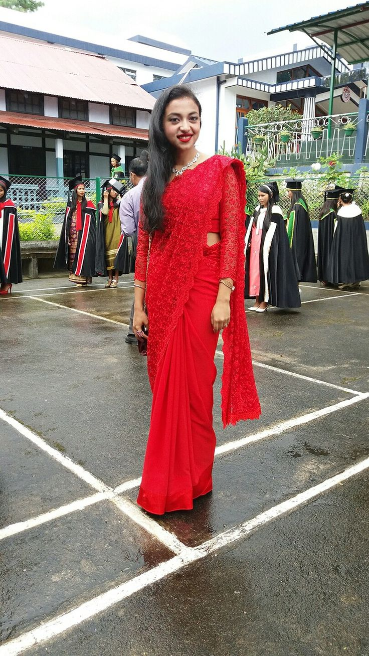 Red lace Saree wit full sleeve blouse