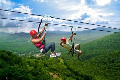Zip lining at Hunter Mountain in the Catskills.