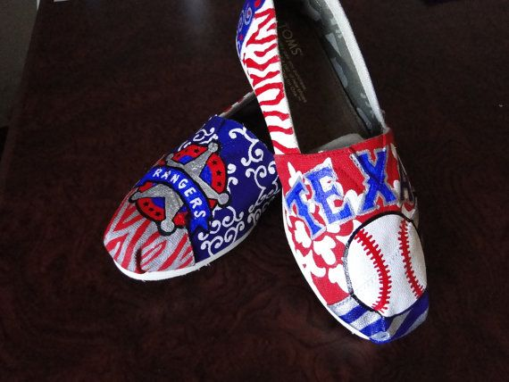 Texas Rangers Baseball Shoes by HeartNSoleDesigns on Etsy