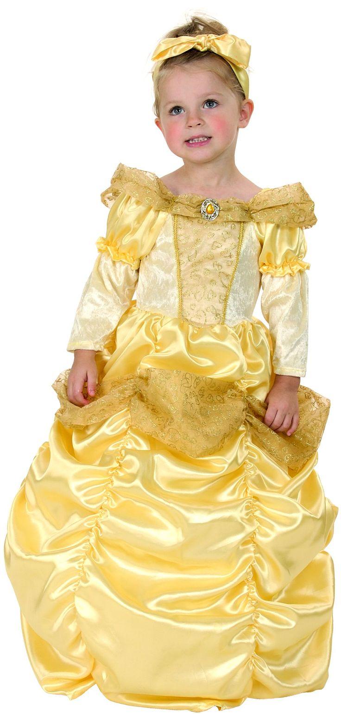 Disfraz dorado de princesa para niña: Este disfraz dorado de princesa para niña incluye un magnífico vestido largo y una cinta para el pelo elástica. La parte superior del vestido es de terciopelo y tejido satinado....