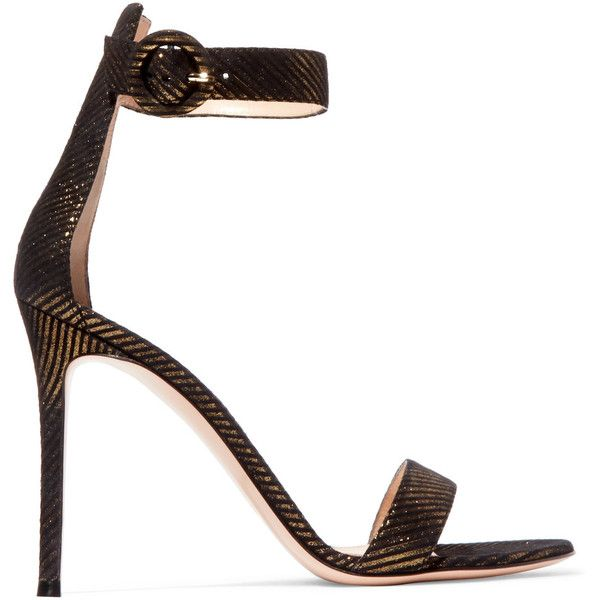 Gianvito Rossi Portofino metallic pinstriped jacquard sandals (£550) ❤ liked on Polyvore featuring shoes, sandals, buckle sandals, strap shoes, polka dot sandals, black and gold shoes and strappy shoes