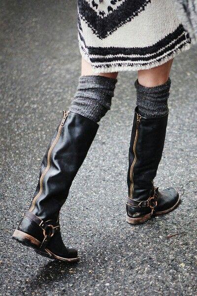 sweater dress + boots.