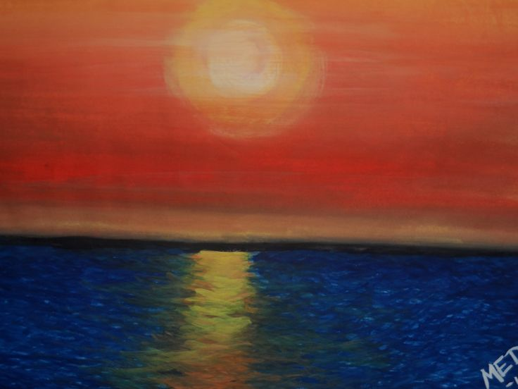 sunset at the sea_poster paint