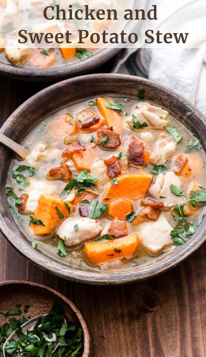 Chicken and Sweet Potato Stew is a cozy dinner to warm up with after a long day….