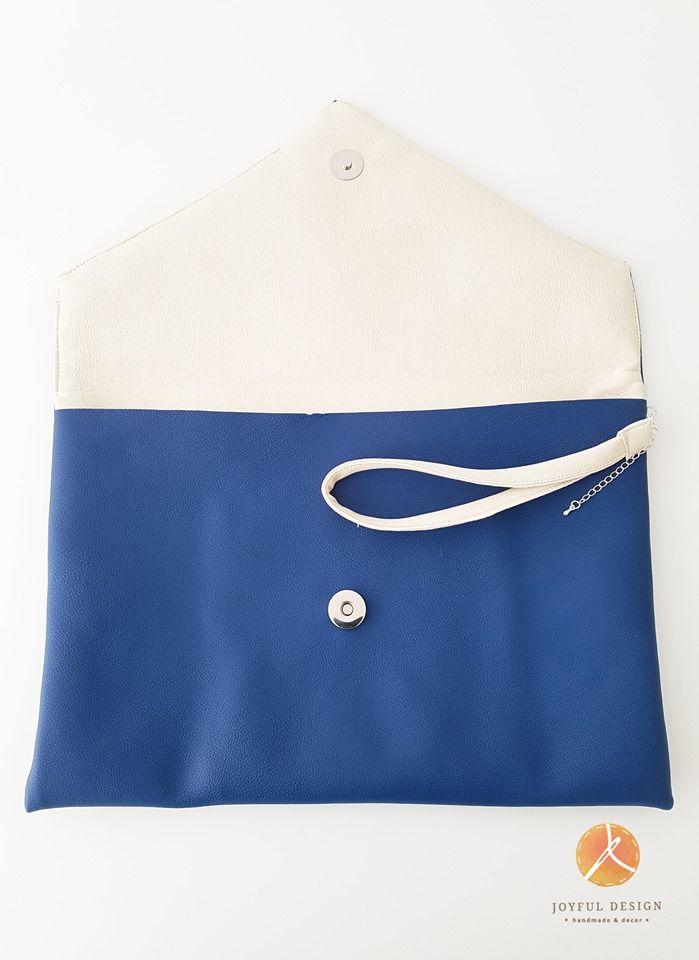 Blue&white handmade clutch