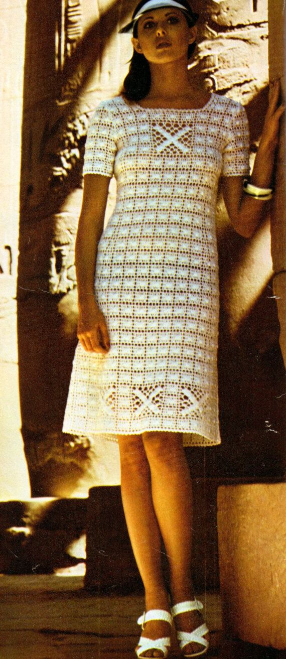 A vintage pattern, retro 1970s to make this beautiful crochet dress . Quickly made in thick cotton yarn (Coton No 5) this will be the perfect - for inspiration