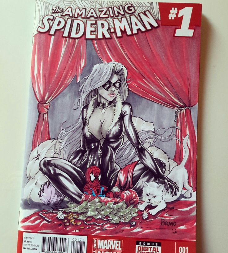 amazing spiderman black cat sketch cover by luis Bravo | eBay
