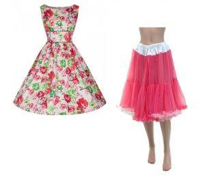 Lindy bop Lexi Rose dress & pink rainbow petticoat