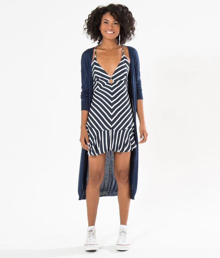vestido curto listra