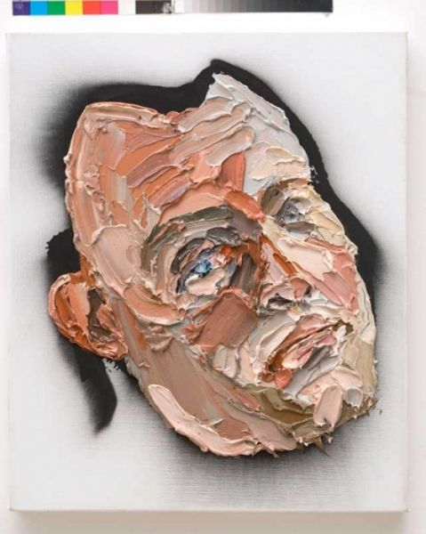 This is a portrait of a caveman by Ben Quilty. He used oil on linen to paint this, the effect is that it looks like a quite rigid and rough, mask that you put on your face.