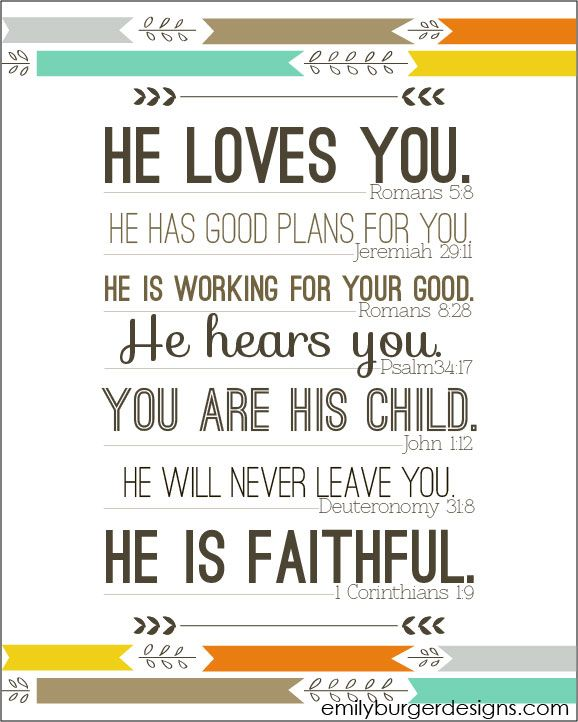 He LOVES you. He has good plans for you. He is working for your good. He hears you. You are His child. He will never leave you.