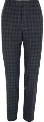 River Island Mens Grey shadow check skinny fit suit pants