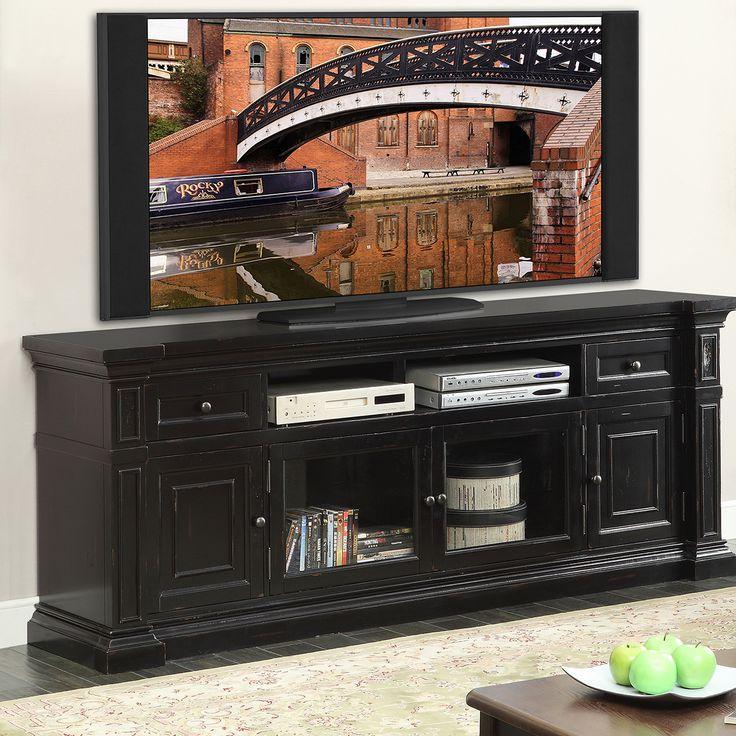 Legends Furniture ZMAN-1980 Manchester 80 Inch TV Media Console Distressed Rustic Black
