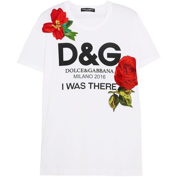 Dolce & Gabbana Appliquéd printed cotton-jersey T-shirt found on Polyvore featuring tops, t-shirts, white, white top, logo tees, dot t shirt, white logo t shirts and cotton jersey