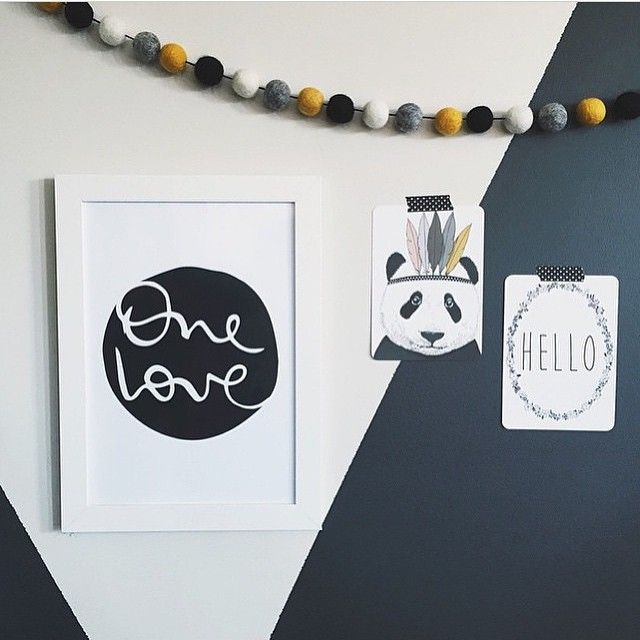 P A N D A // Love how cute @kayleighmcglynn has made our little prints look!! Shop www.tleafcollections.com.au #prints #homeinspo #panda #hello #onelove #feltballs #style #design #brisbane #tleafcollections