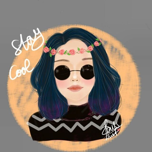 Girl with Sunglasses Drawing // Ombre Hair // Hairstyles