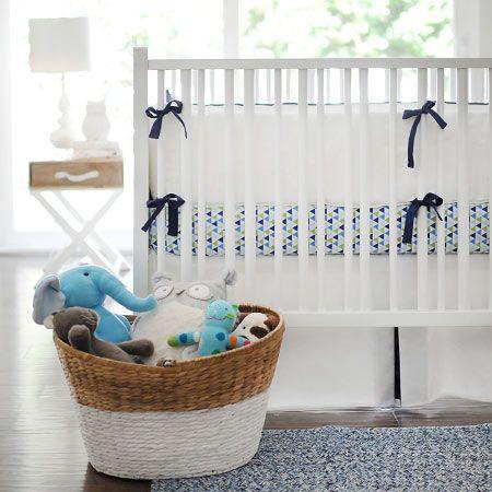 Navy and White Crib Bumper | Blue Crib Bumper | Baby Crib Bumper