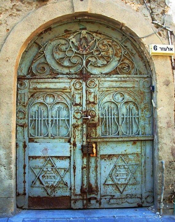 Doors photography, teal, rusty, Tel Aviv door, David star, synagogue, old synagogue door