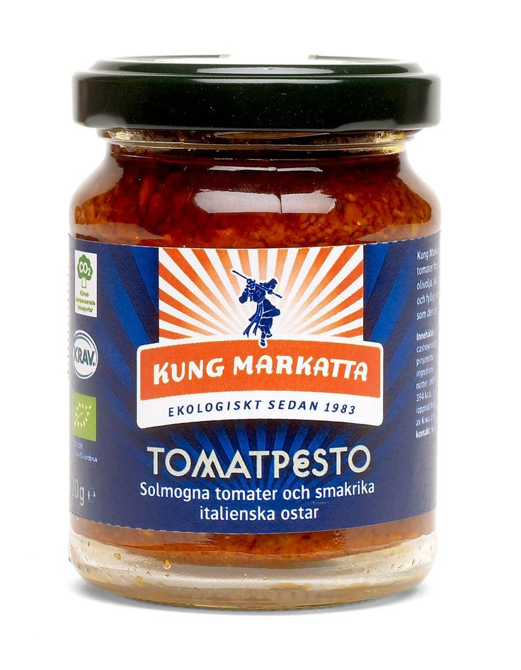 Tomatpesto 120g | Kung Markatta - kungen av ekologiskt. Röd pesto tillagad av ekologiska tomater, extra virgin olivolja och italienska ostar.