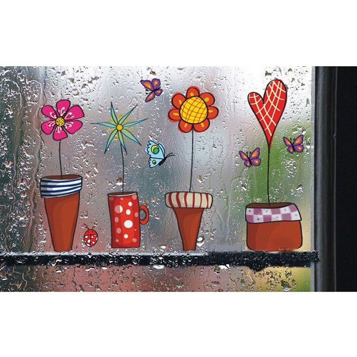 Милый цветок стикер кухня стикер окна butterfies стены наклейки home decor ванная комната виниловые наклейки на стены Дети номера Декор