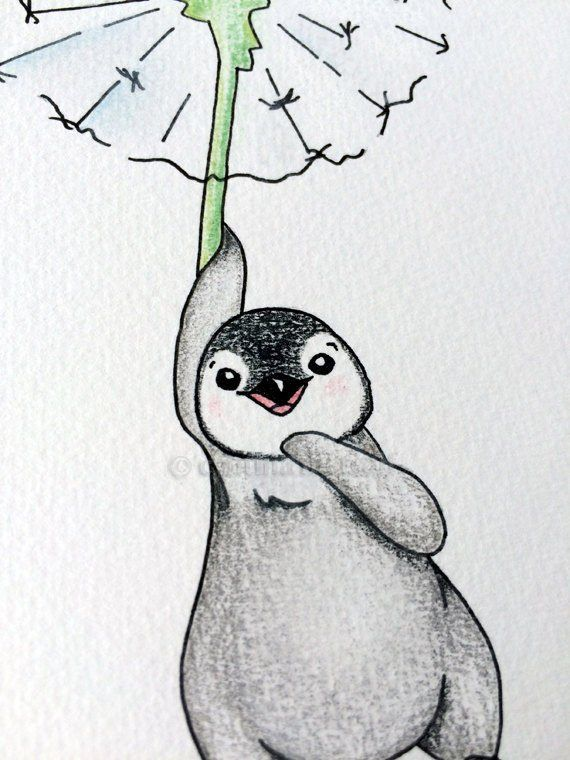 Watercolor Penguin Nursery Print Of Painting Dandelion
