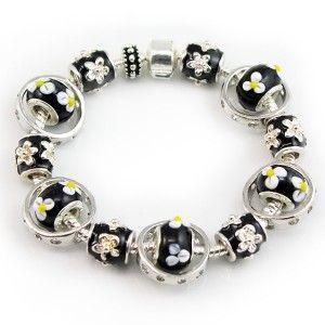 Silver and Black European Charms Pandora Style Bracelet