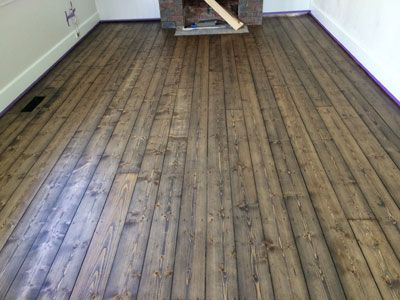 Rubio monocote black oi stained on old baltic pine floor