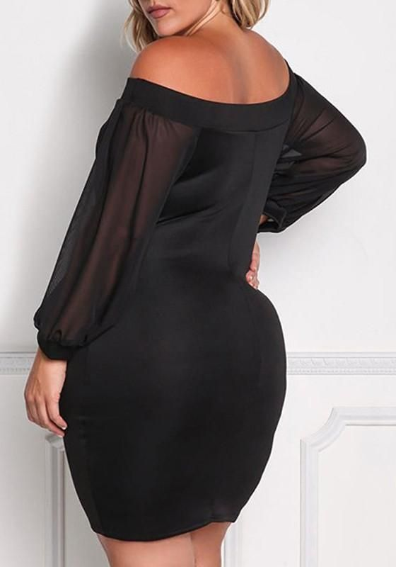 f2dd307968 ByChicStyle Black Bandeau Off Shoulder Blackless Long Sleeve Bodycon  Banquet Formal Midi Dress