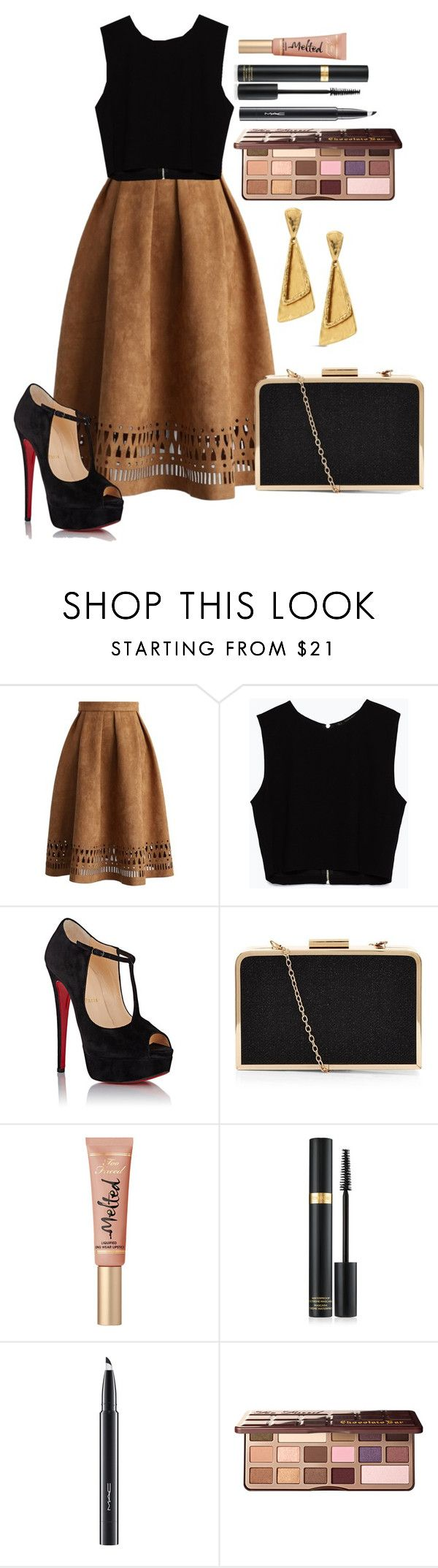 """""""Untitled #1275"""" by fabianarveloc on Polyvore featuring Chicwish, Zara, Christian Louboutin, Too Faced Cosmetics, MAC Cosmetics and Chico's"""