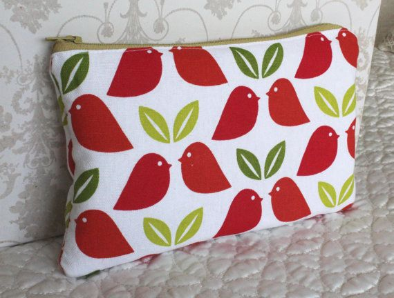 zipped purse for Make up cosmetic bag bird print by Jamberoon