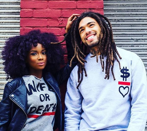 black couple with purple curly natural hair