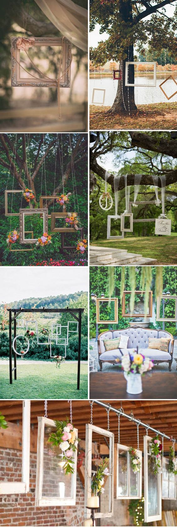gorgeous hanging wedding decoration ideas with photo frames: