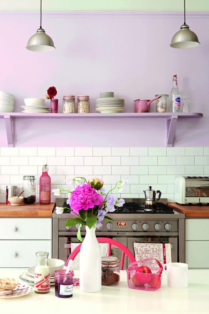 Soft pink and lilac painted kitchen with white units and white metro tiles #kitchen #pastel