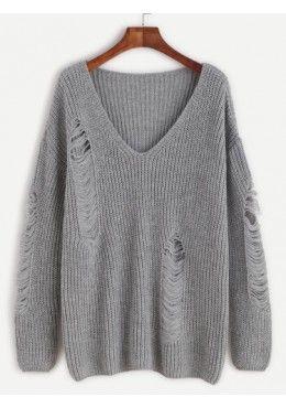 Pullover mit zerrissen Design 2017 Grau