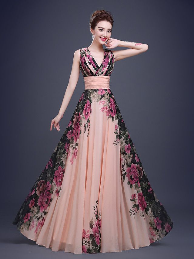 A Line V Neck Floor Length Chiffon Prom Dress With Pattern Print Ruched By Ts Couture Pinterest Dresses Online And