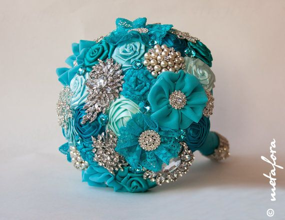 Brooch bouquet, turquoise Fabric Wedding Bouquet, Unique Fabric Flower Bridal Bouquet on Etsy, $200.00